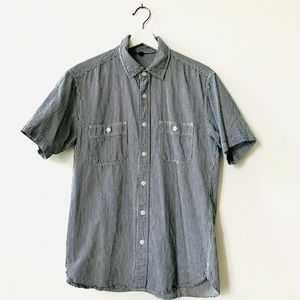 Uniqlo Button Down Short Sleeved Striped Shirt